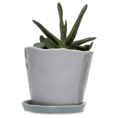 chive Big Tika Planter and Saucer - Light Grey