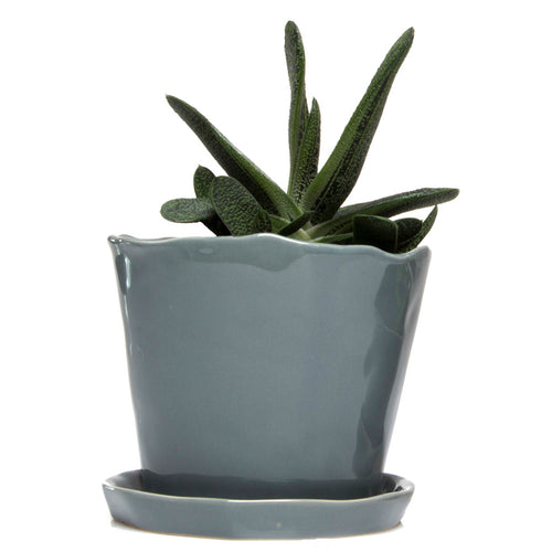 chive Big Tika Planter and Saucer - Medium Grey
