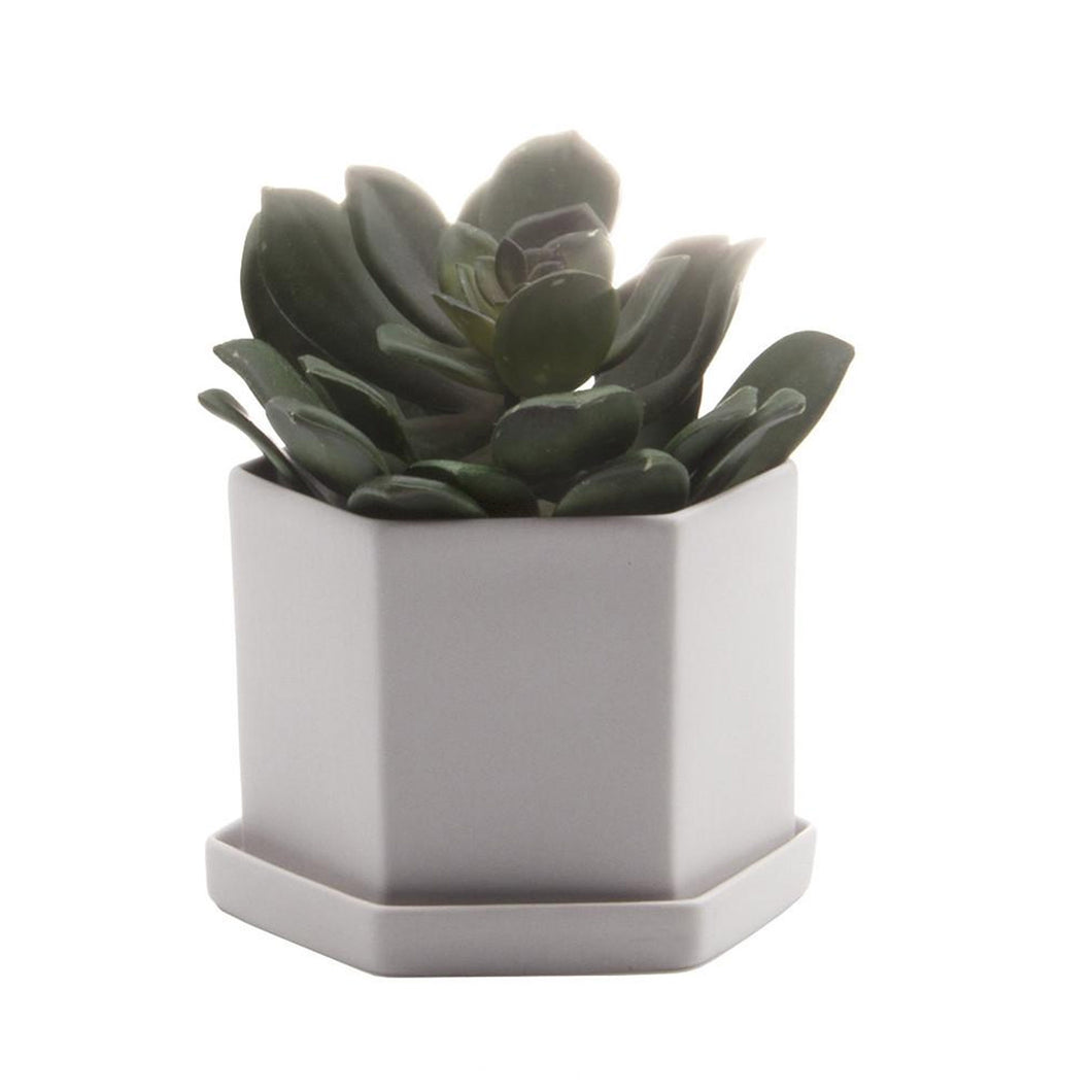 chive Hexi Planter and Saucer - light grey