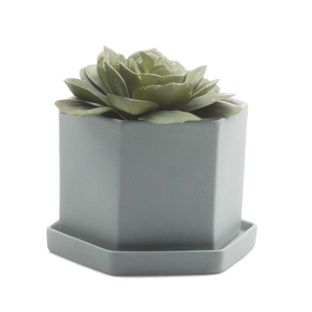 chive Hexi Planter and Saucer - peacock green