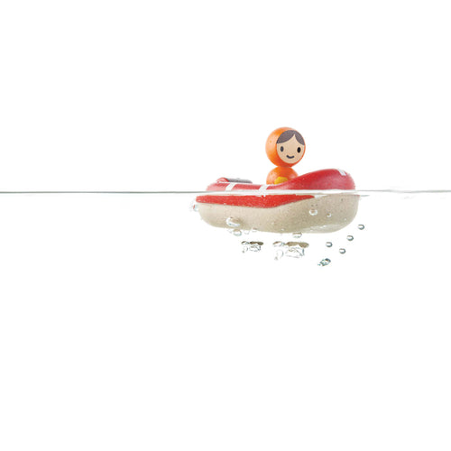 coastguard boat bath toy wooden
