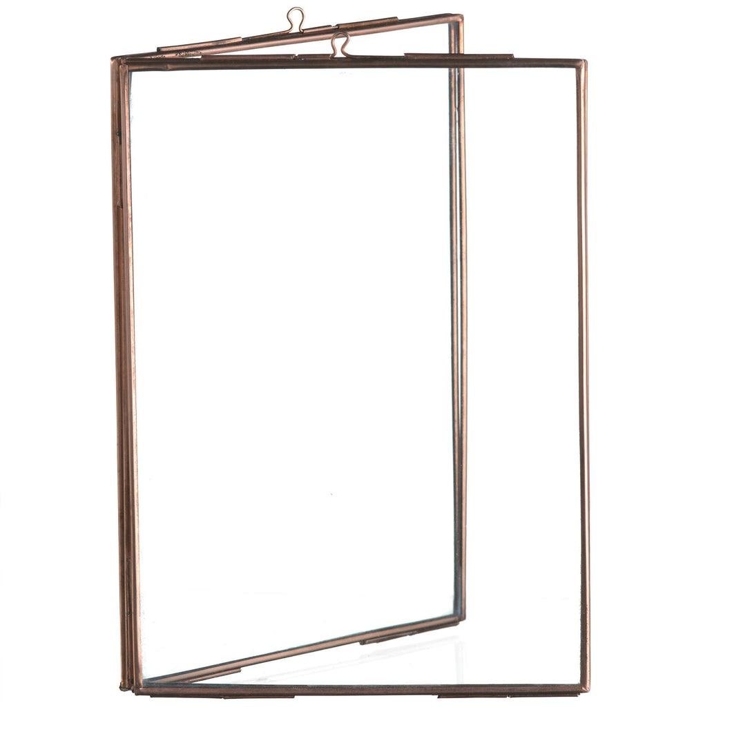 copper double photo frame book style