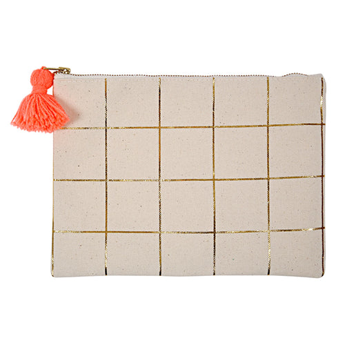 cotton pouch with gold grid and coral tassel