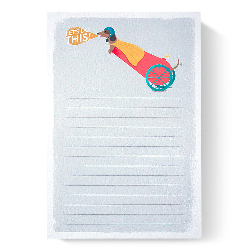 Duke & Rabbit - Let's do this! Dachshund Cannon Notepad