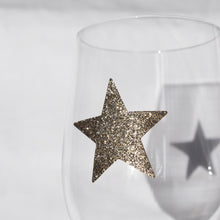 delight department festive glass star glitter sticker gold close