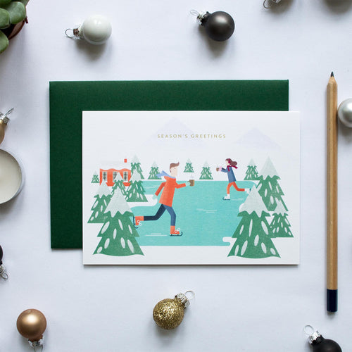 duke and rabbit christmas card boxed set ice skaters