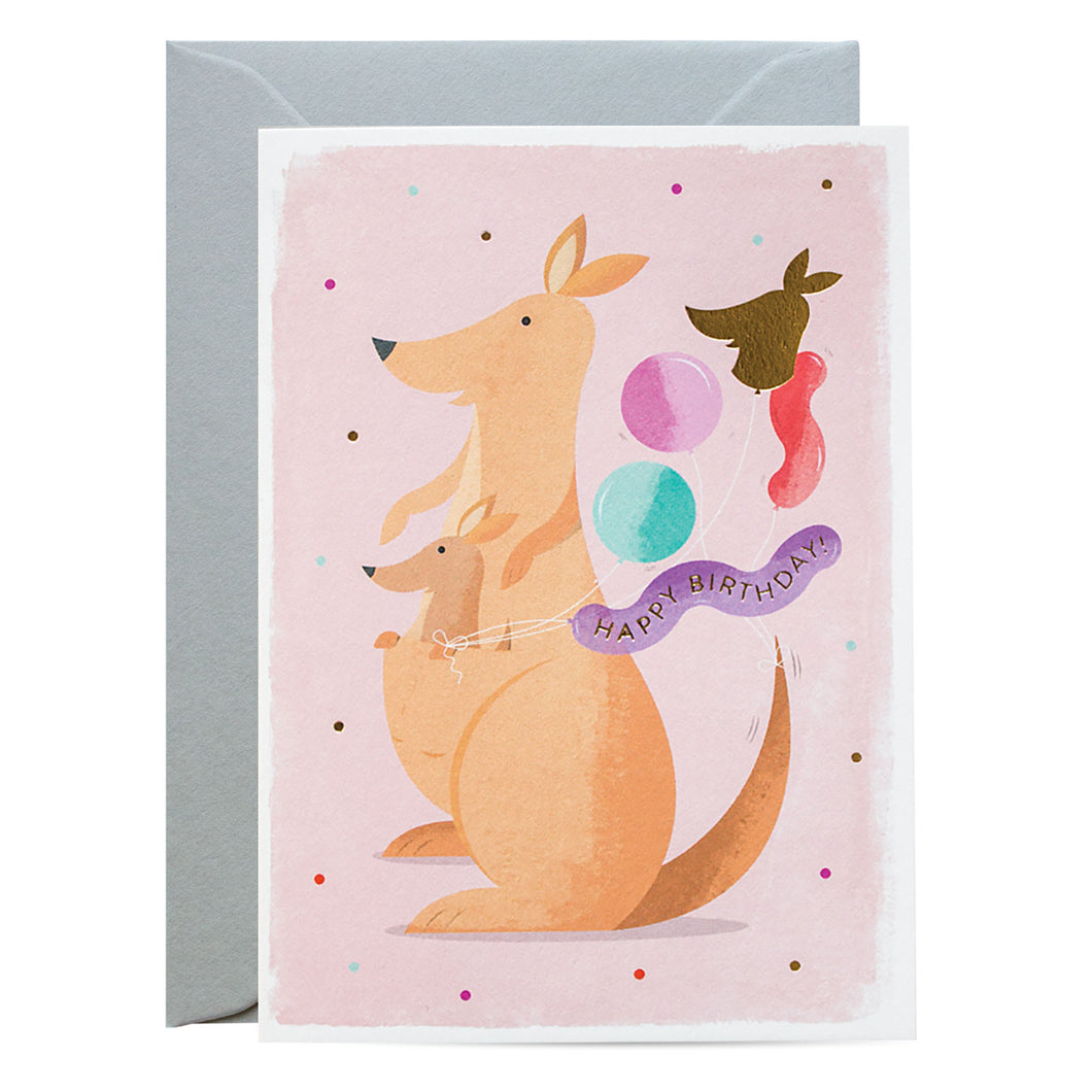 Duke & Rabbit - Kangaroo Balloons Card
