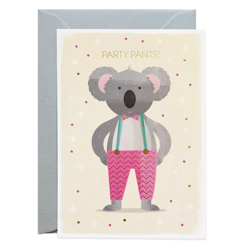 Duke & Rabbit - Party Pants Koala Birthday Card