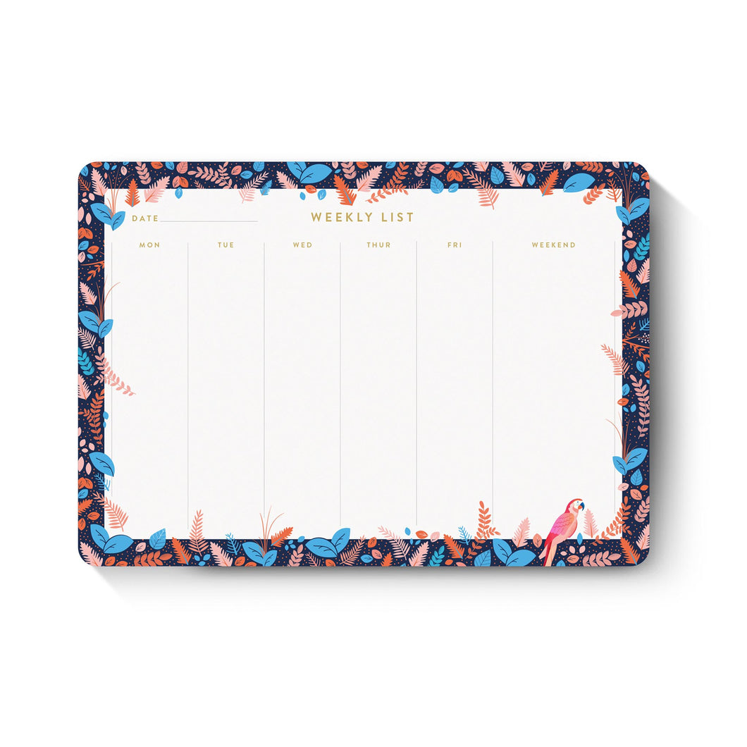 duke and rabbit midnight parrot desk pad