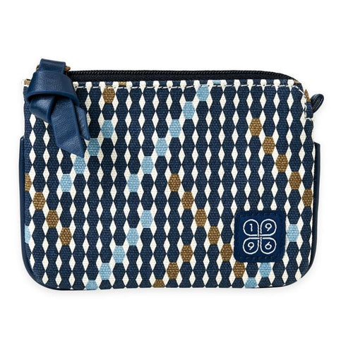 navy diamond print coin purse