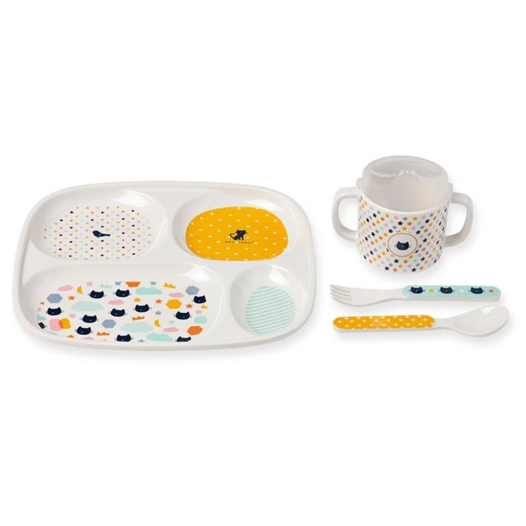 Bandjo - Children's melamine dinner set - Cats and Stars design