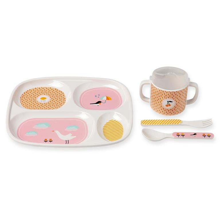 Bandjo - Children's melamine dinner set - Bird design
