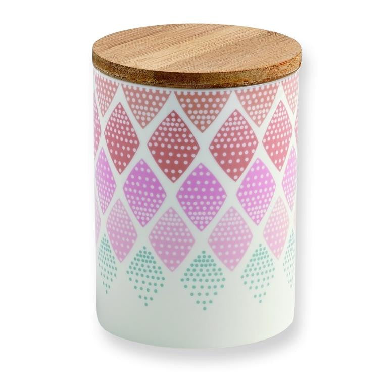 Mini Labo - Canister with wooden lid - Diamond pattern