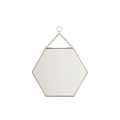 gold hexagon mirror hanging chain