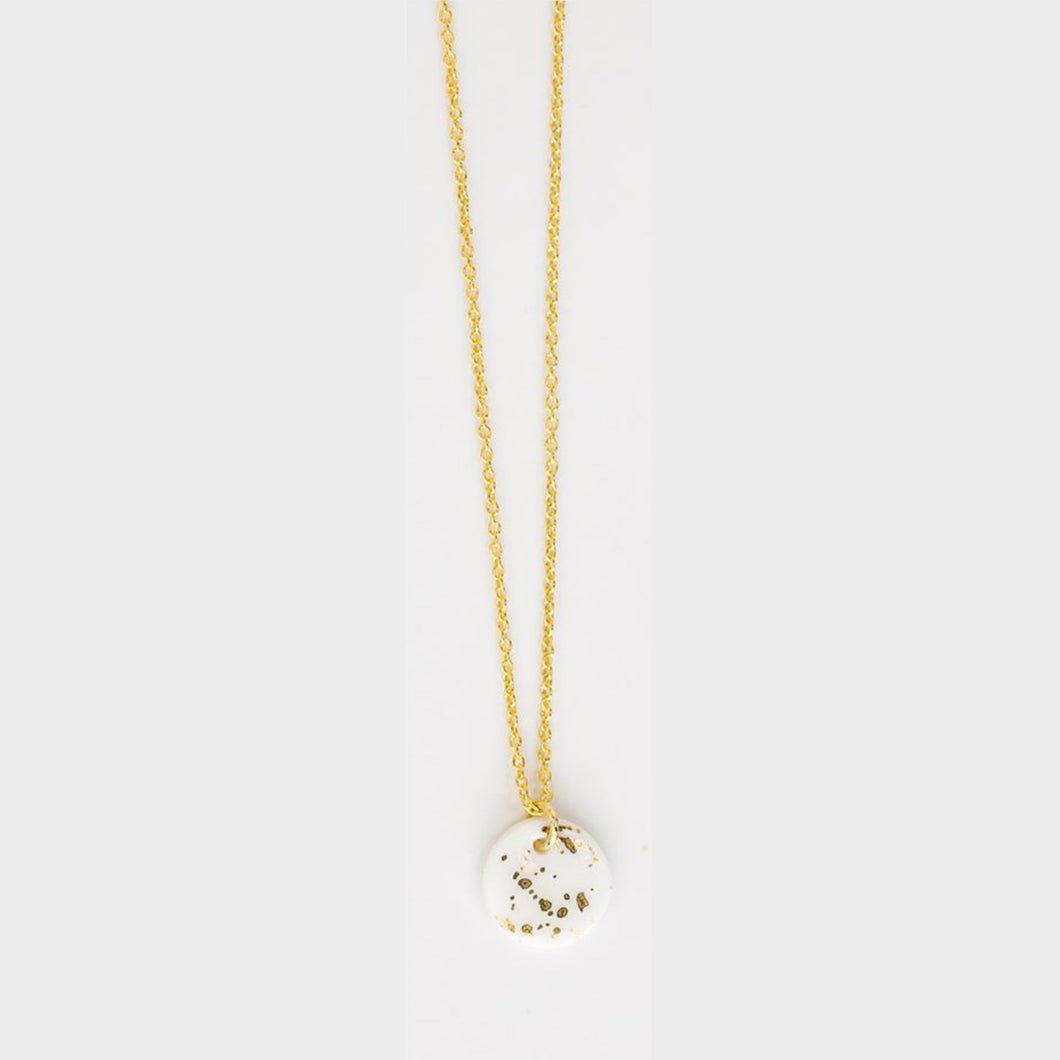 gold hoop porcelain paint splatter necklace