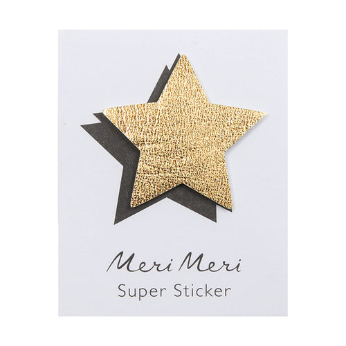 gold leather star sticker