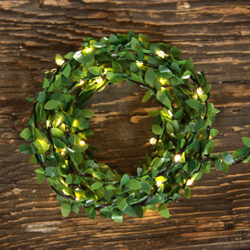 greenery fairy light strand coiled