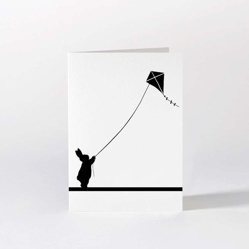 HAM - Kite Flying Rabbit Card