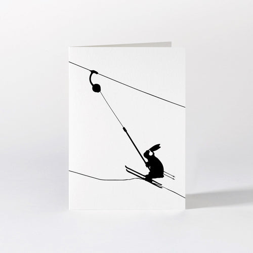 ham button ski lift skiing rabbit card