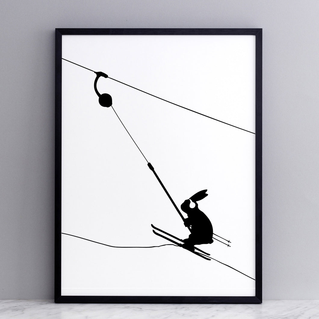 ham button ski lift skiing rabbit print