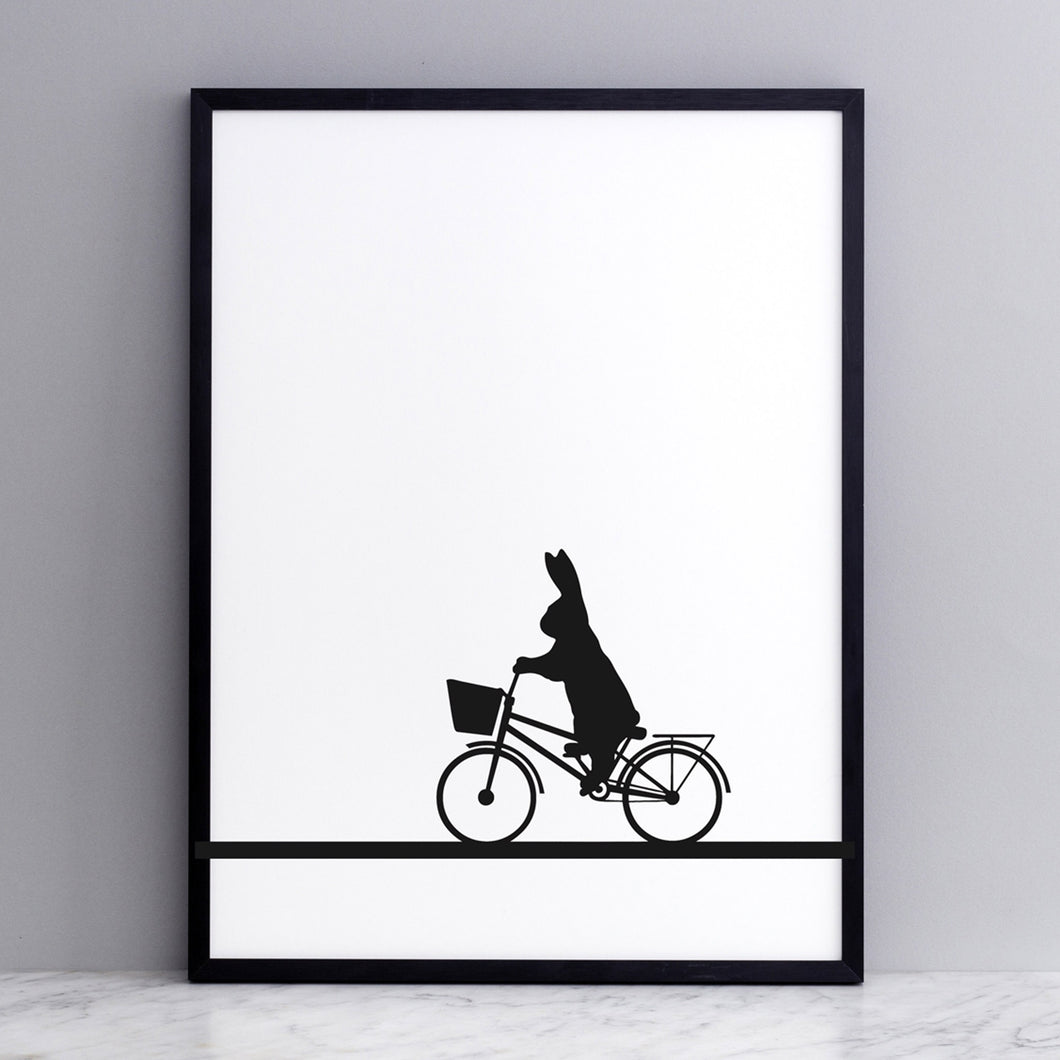 ham city bike basket rabbit print