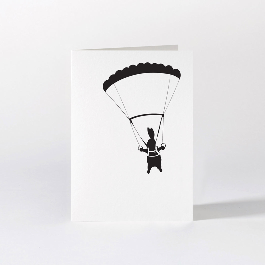 ham parachuting rabbit card