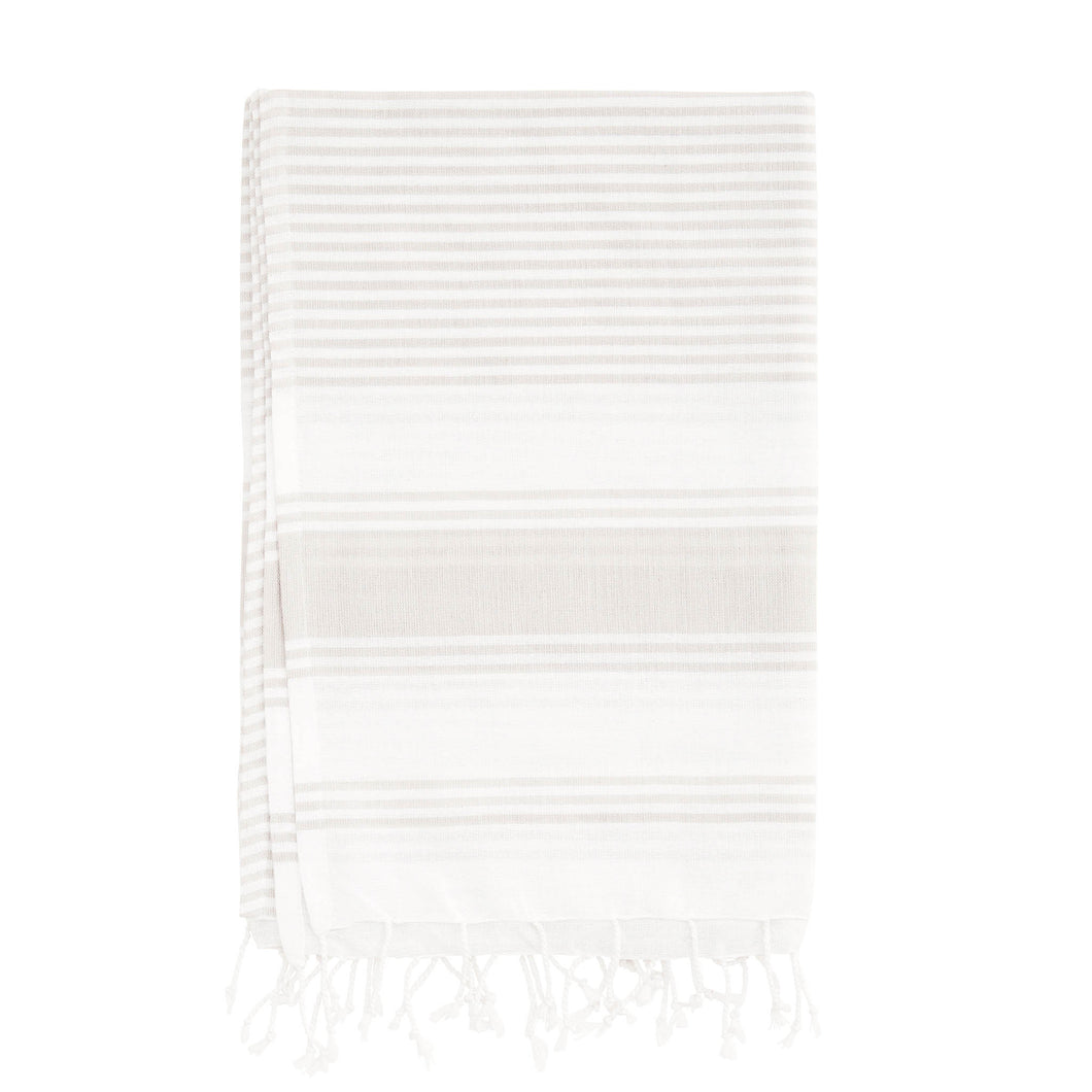 hammam towel cotton striped light grey and white towel