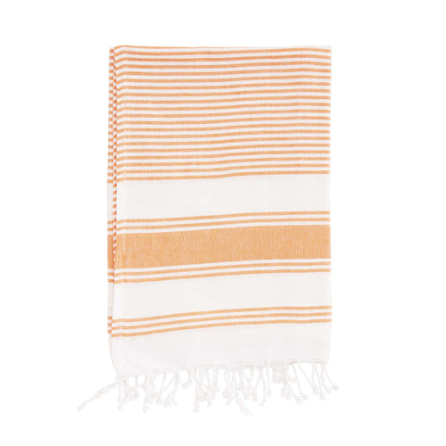 hammam towel cotton striped orange and white towel