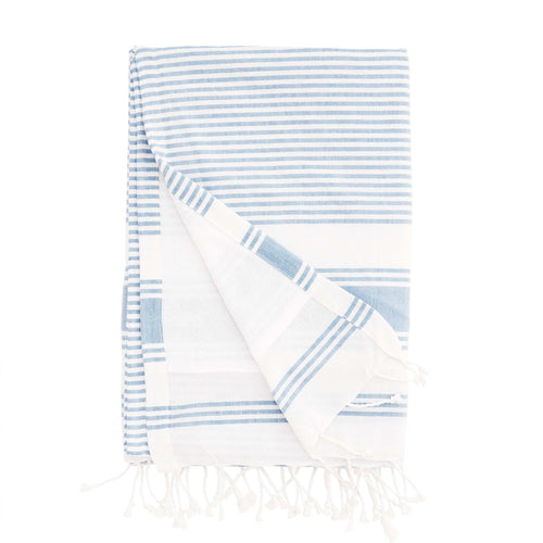 hammam towel cotton terry striped blue and white towel