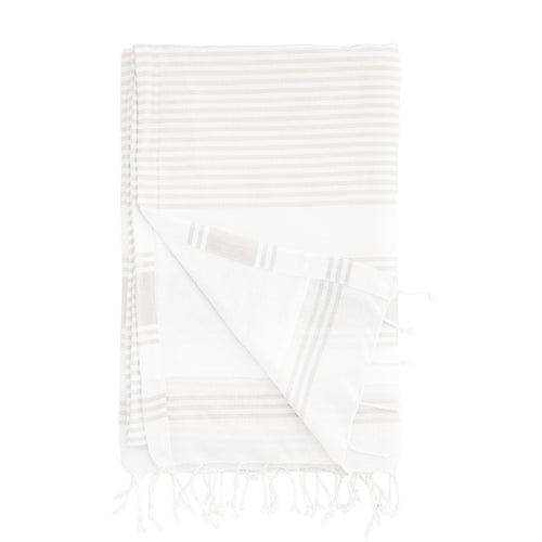 hammam towel cotton terry striped light grey and white towel
