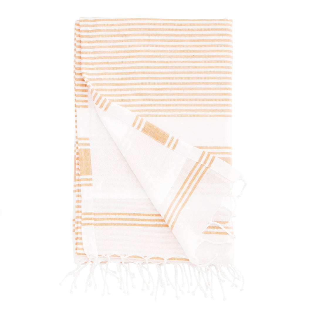 hammam towel cotton terry striped orange and white towel