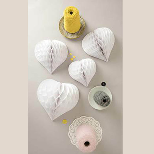 Rico - Honeycomb Paper Hearts - White