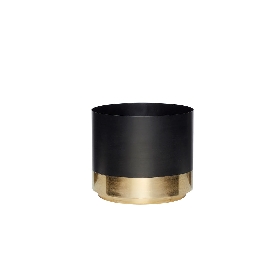 Hubsch - Black Metal Plant Pot with Brass Base - Small