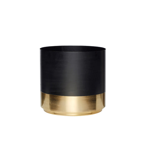 Hubsch - Black Metal Plant Pot with Brass Base - Large