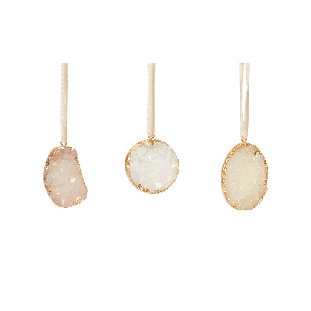 Hubsch - Christmas Agate Ornament - White and Gold - Set of 3