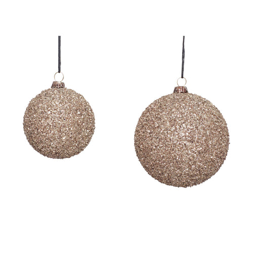 Hubsch - Christmas Bauble - Champagne Glitter - Set of 2