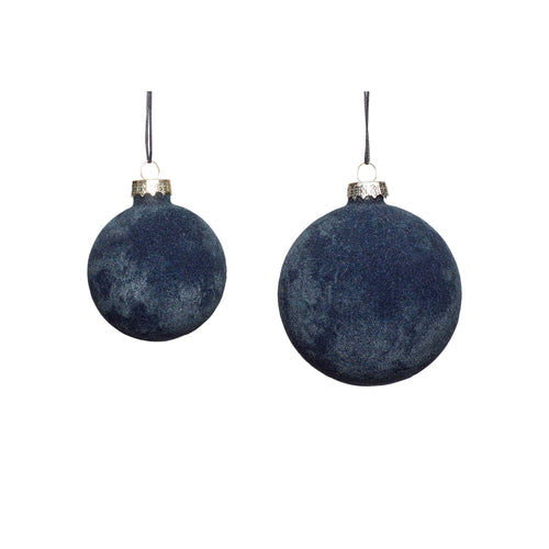 Hubsch - Christmas Bauble - Grey Velvet - Set of 2