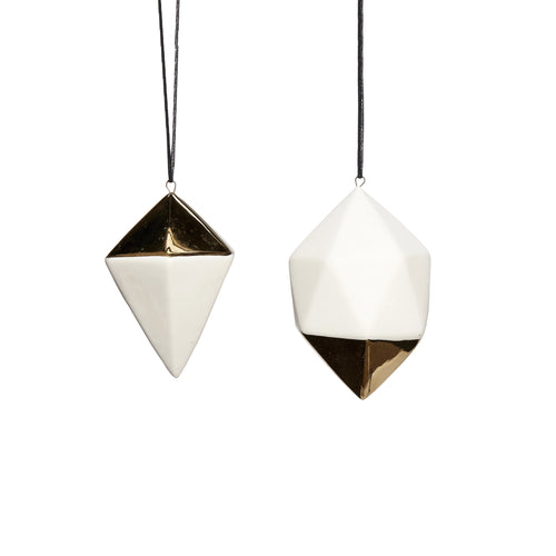 hubsch Christmas Diamond with string porcelain white and gold Set of 2