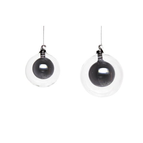 Hubsch - Christmas Glass Bauble within a Bauble - Black - Set of 2