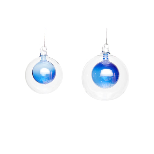 Hubsch - Christmas Glass Bauble within a Bauble - Blue - Set of 2