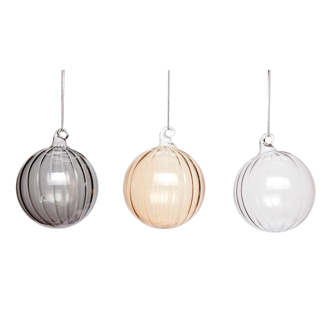 Hubsch - Christmas Glass Fluted Baubles, grey, amber and clear - Large - Set of 3
