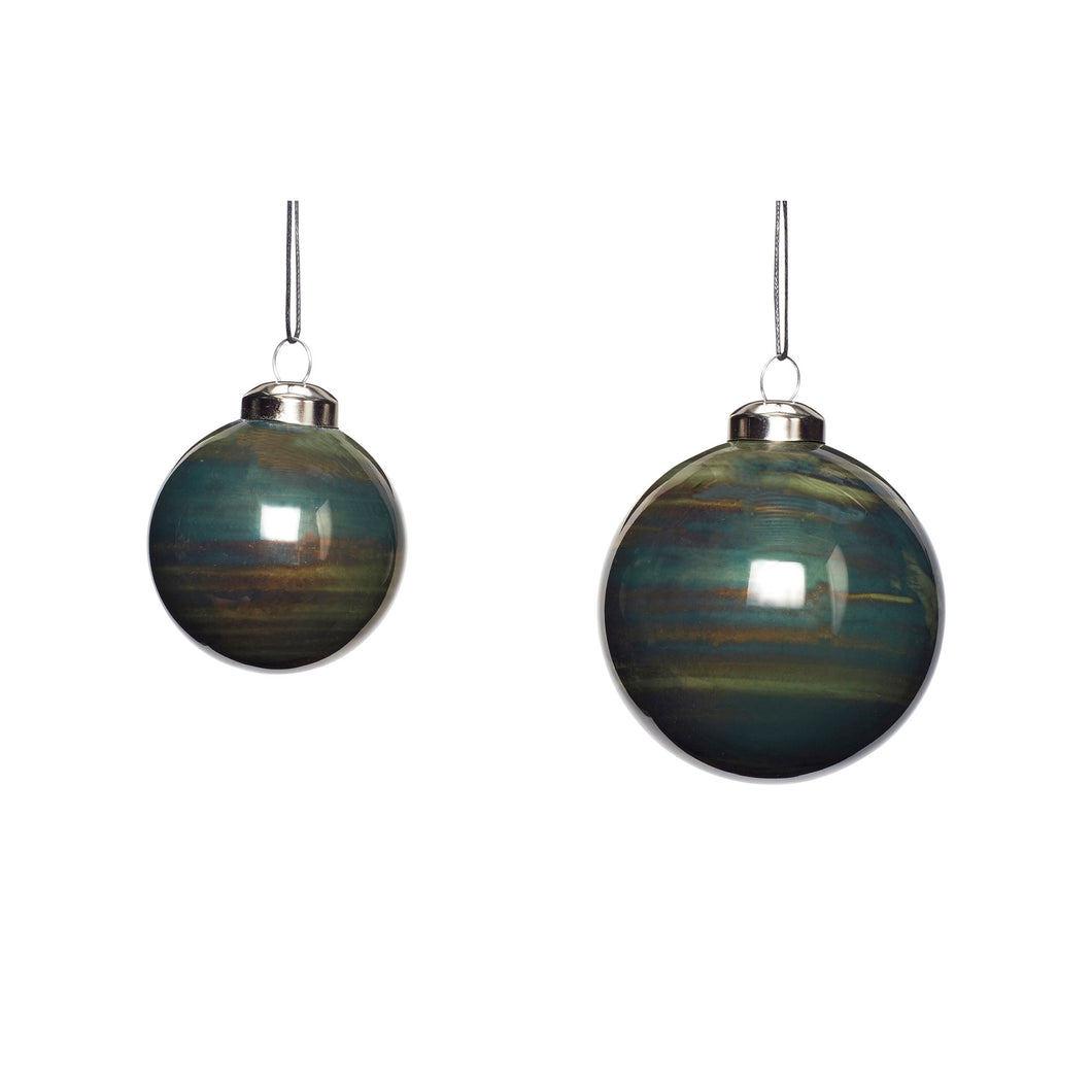 Hubsch - Christmas Glass Painted Bauble - Dark Green - Set of 2