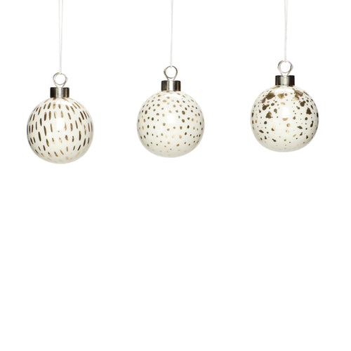 hubsch Christmas bauble glass white and gold Set of 3