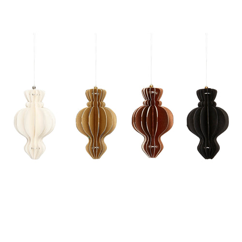 Hubsch - Christmas hand- folded paper decorations - Cream, Gold, Bronze, Black - Set of 4