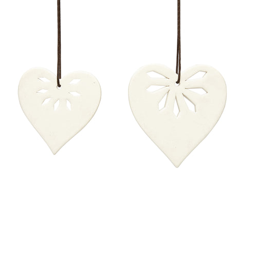 hubsch Christmas hearts ceramics white Set of 2