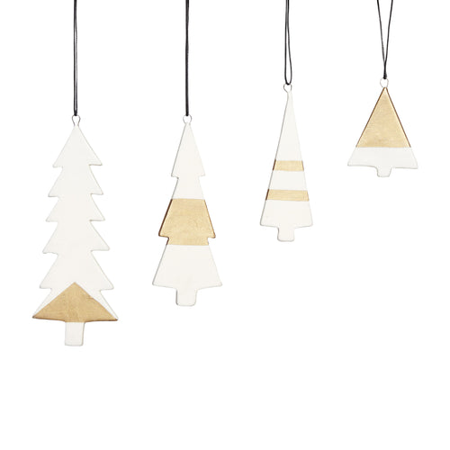 hubsch Christmas tree with string porcelain white and gold Set of 4