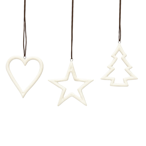 hubsch Heart star Christmas tree white ceramics Set of 3