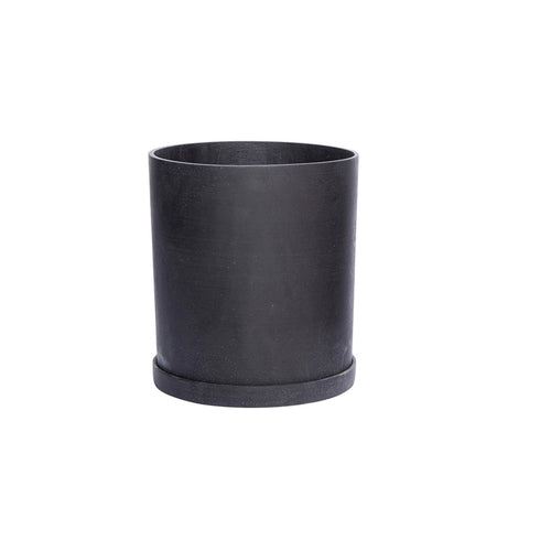 hubsch Plant pot with decorative saucer - Black - extra large