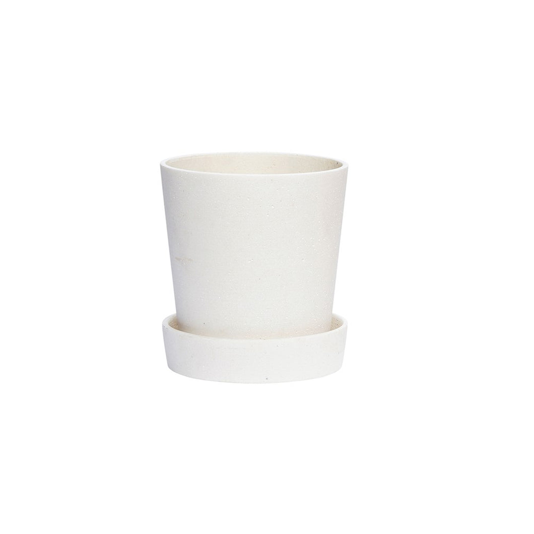 hubsch Plant pot with decorative saucer - White - Medium