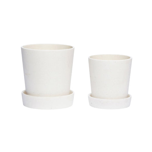 hubsch Plant pot with decorative saucer - White - set of 2 small